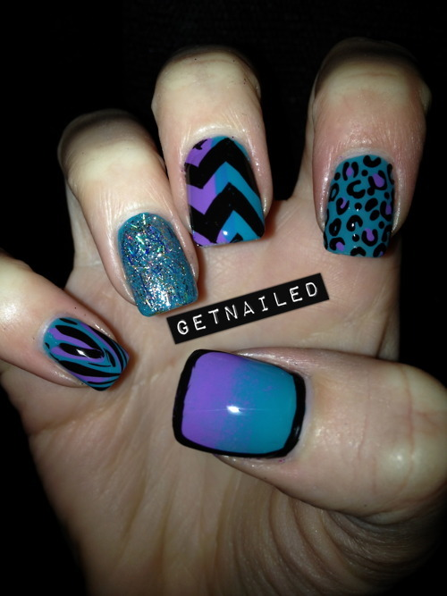 blue, glitter, ilove, leopard, nails, purple, stripes