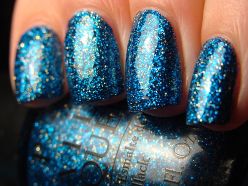 blue, glitter, nail art, nail polish, nails