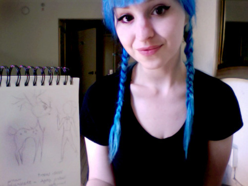 blue hair, charla, charlavail, girl, pretty