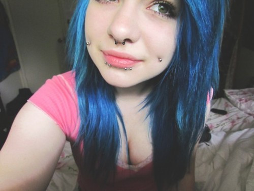 blue hair, cheek piercing, girl, piercing, piercings