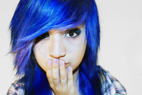 blue hair, cute, kawaii, scene, scene hair