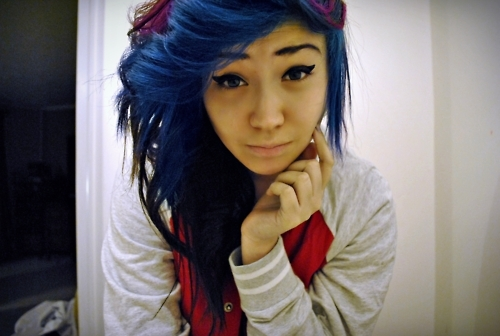 blue hair, f4lconpunch, girl
