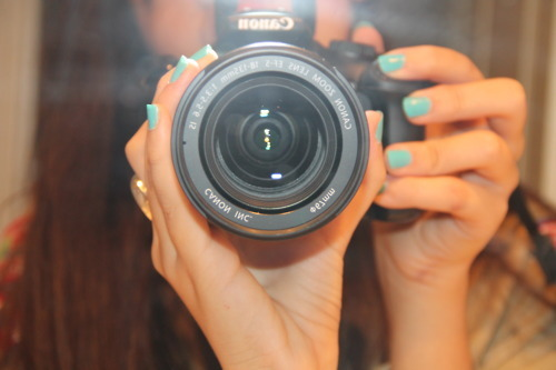 blue nails, camera, canon, girl, nails