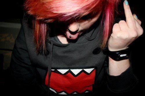 blue nails, colorful hair, cute, emo girl , pretty