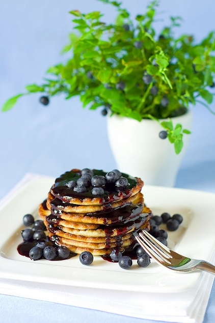 blueberries, breakfast, food, fork, pancakes