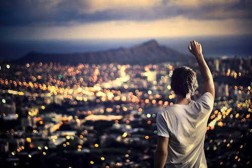 blur, city, cityscape, focus, god, hand, landscape, lights, man, mountain, person, photography, worship