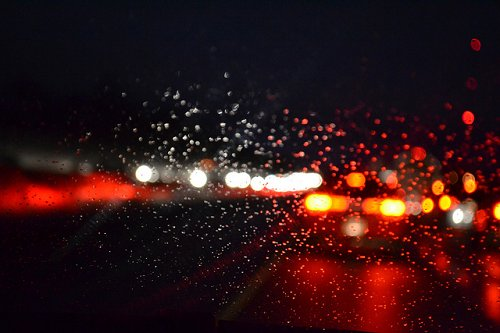 bokeh, car, city lights, dark, drops, glass, lights, night, rain, red, street, streets, water, window