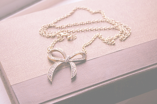 book, bow, brown, chain, diamonds, fashion, glitter, necklace, notebook, pastel, pink, retty, sparkley, white