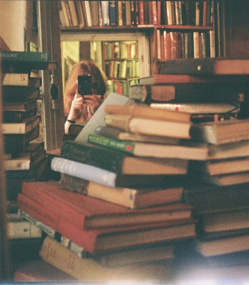 books, camera, girl, library, vintage