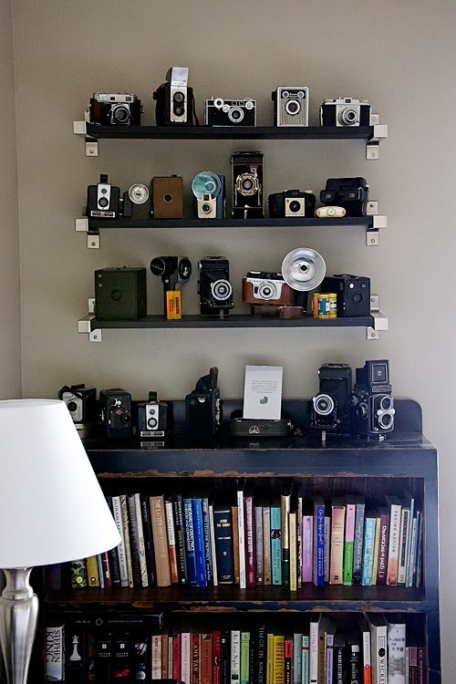 books, cameras, decoration, vintage