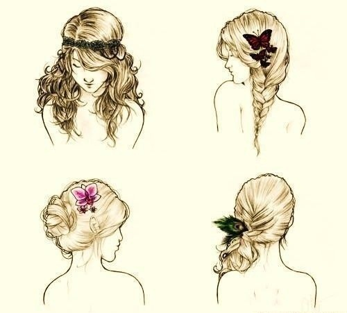 bow, braides, bun, drawing, fashion, girl, girly, hair