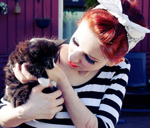 bow, cat, cut, cuts, depressed, fashion, hair, hipster, red hair, stripes, style, swag