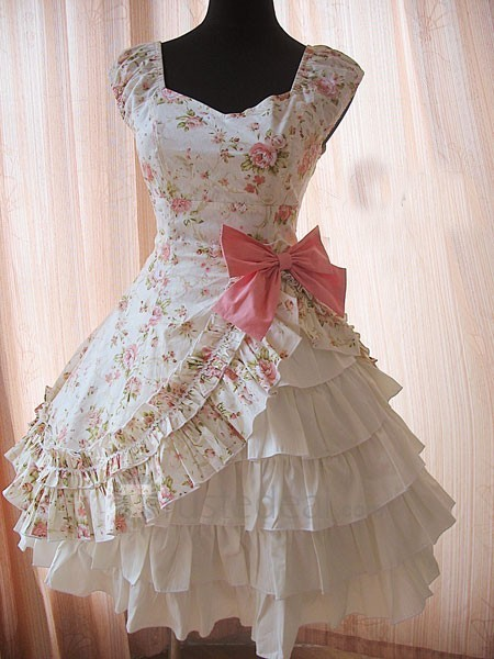 bow, cute, floral, kawaii, lolita