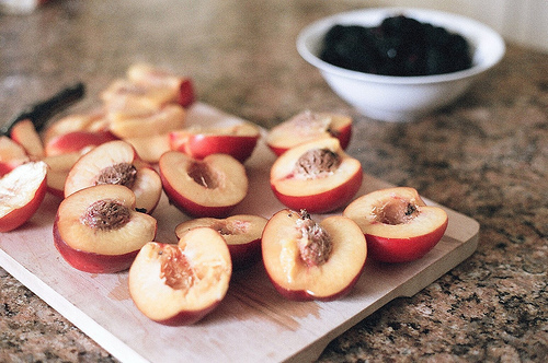 bowl, food, fruit, healthy, kitchen, peaches, photography, vintage, wood