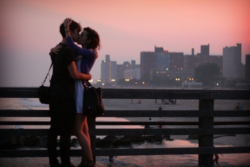 boy, brunette, city, couple, girl