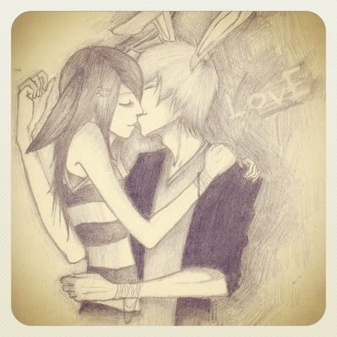 boy, bunny, drawing, girl, love