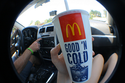 boy, car, delicious, food, girl, guy, mc donalds, mcdonalds, soda