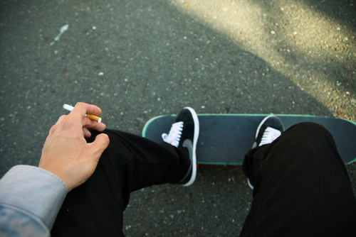 boy, cigarette, dope, hot, male, sexy, sitting, skate, skateboard, skater, smoke, smoker, smoking, swag, teen