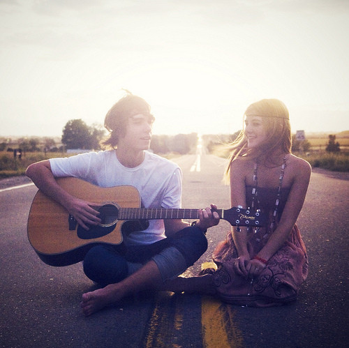 boy, couple, cute, dress, forest, girl, guitar, love, music
