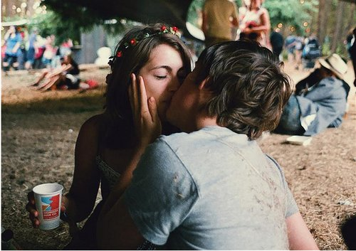 boy, couple, cute, festival, girl, hipster, indie, kidding, kiss, kissing, love, std, vomit