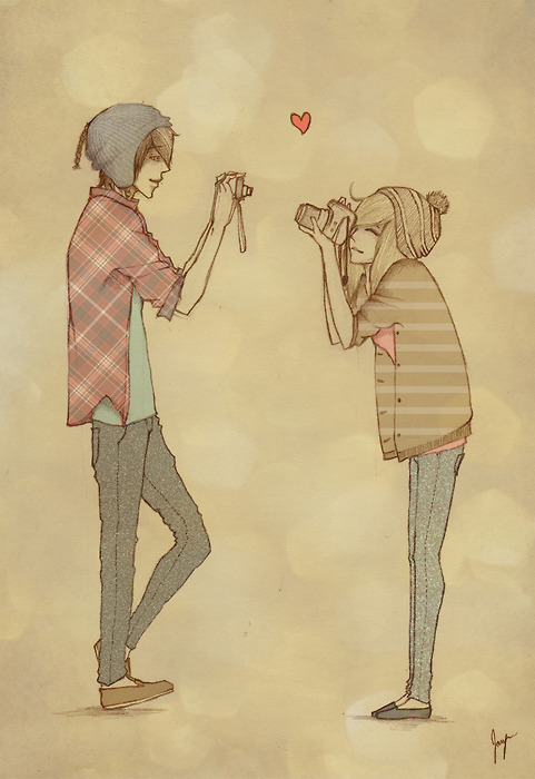 boy, couple, drawing, fashion, girl, hat, heart, hipster, hoodie, illustration, love, plaid, retro, vintage