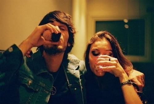 boy, couple, drink, girl