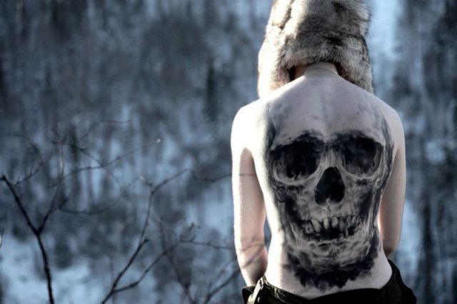 boy, skull, snow, tattoo, winter