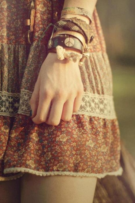 bracelet, dress, floral, flowers, girl, pattern, peace, skirt