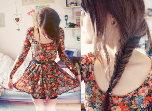 braid, brown hair, cute, dress, girl