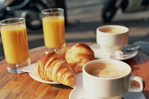 breakfast, cafe, coffee, croissant, food