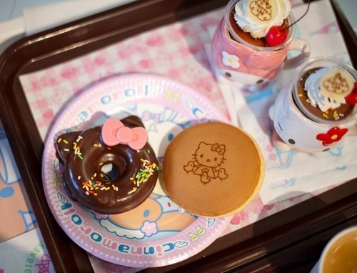 breakfast, cake, coffee, cupcake, cute, delicious, donut, drink, food, hello kitty, kawaii, sweet, tasty, tea, yum, yummy