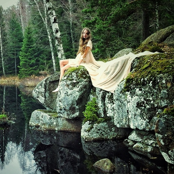 bride, dress, forest, girl, green