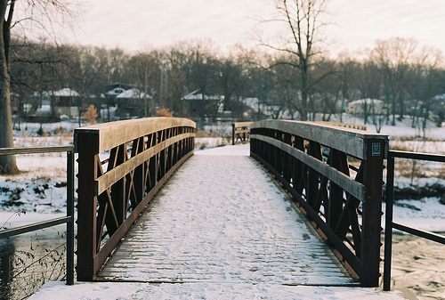 bridge, buiding, buildings, christmas, cold, house, houses, ice, old, photo, photography, simple, sky, snow, snowflake, snowlakes, vintage, water, white, winter, wood, wooden