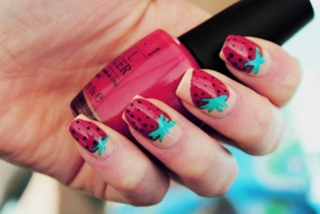brocade, colorful, colors, cute, fashion, fingernails, girly, glossy, manicure, nail art, nail painting, nail polish, nailart, nails, nails fashion, nails style, pattern, pretty, red, strawberries, strawberry, style, yellow
