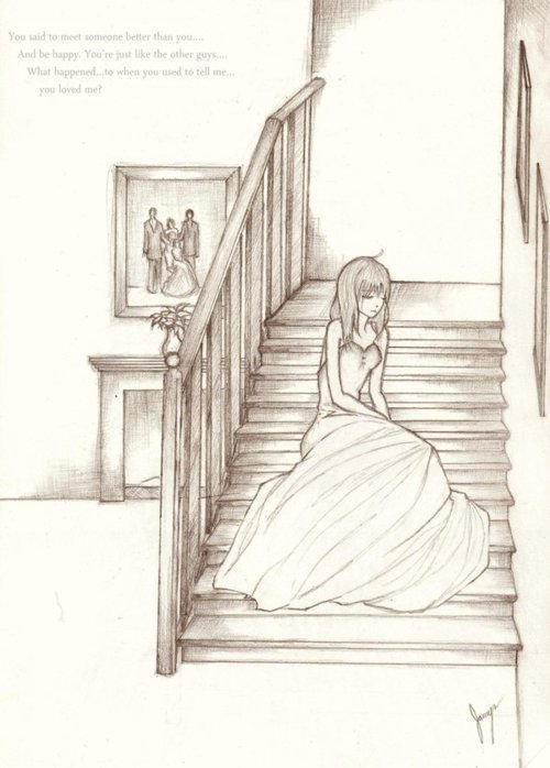 broken heart, drawing, dress, girl, love, sad
