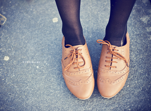 brown, cute, fashion, lace up shoes, laces, oxford flats, photo, purpleasme, shoes
