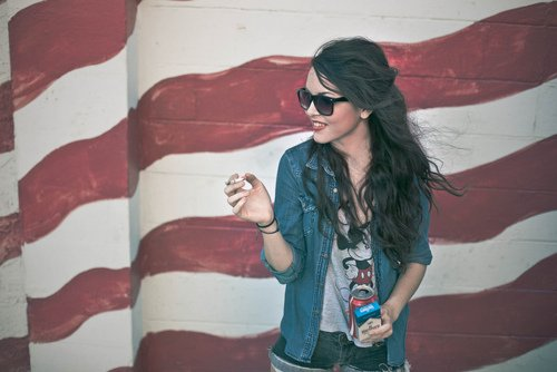 brunette, coca cola, crazy, cute, fashion, girl, marlboro, mickey, mouth, photography, rayban, smile, usa