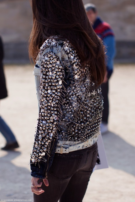 brunette, cool, fashion, girl, jacket, photography, streetstyle, studs, style