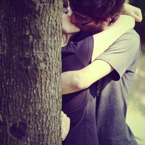 brunette, couple, girl, glasses, guy, hide, kiss, kissing, love, secret, tree