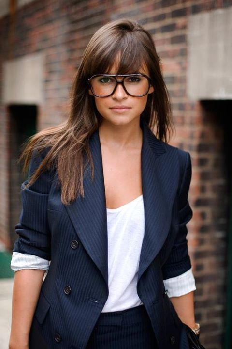 brunette, fringe, girl, glasses, jacket