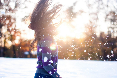 brunette, girl, hair, photography, snow