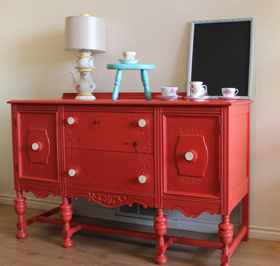 buffet, decor, red, retro, vintage