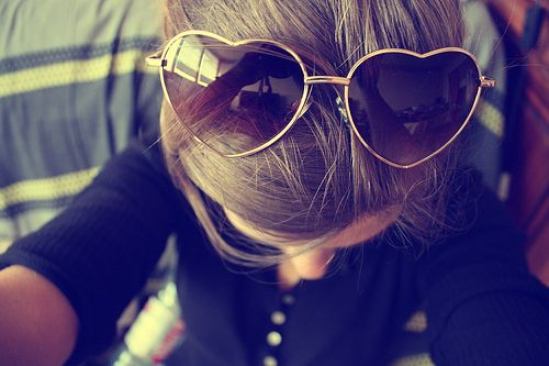 bun, girl, hair, heart, her, pretty, sunglasses, tan