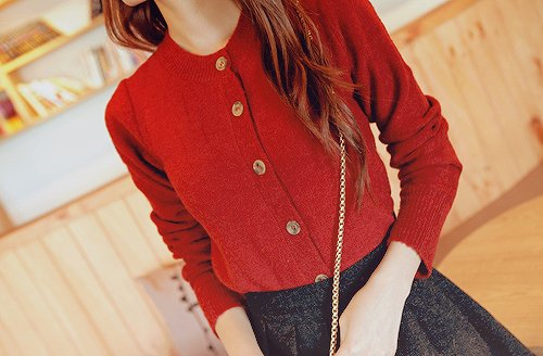 buttons, cardigan, fashion, girl, hair, pretty, pursue, red, skirt