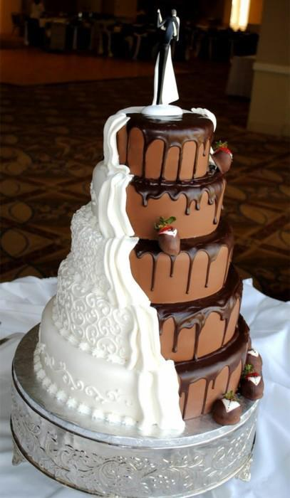 cake, chocolate, cream, strawberry, wedding