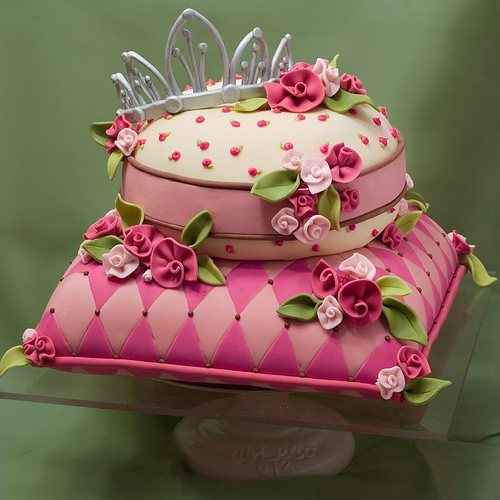 cake, crown, female, flowers, pink