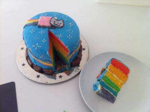 cake, nyan cat, rainbow