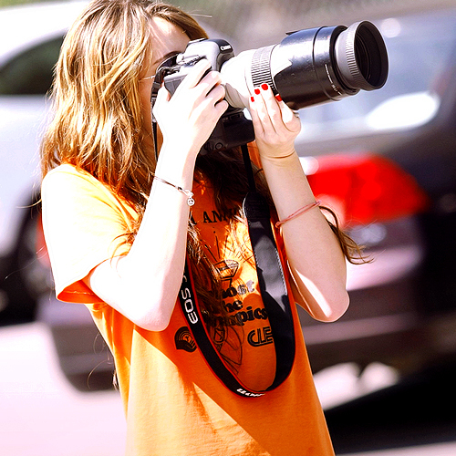 camera, canon, girl, hair, miley cyrus