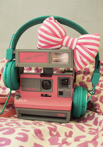 camera, cute, headphone, photography :), pink, polaroid, vintage