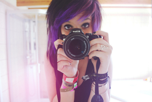 camera, girl, purple hair